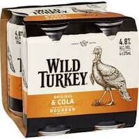 WILD TURKEY & CLA CAN  4x375ML